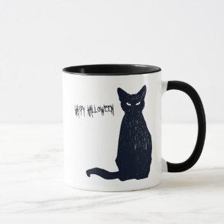 Taza Silueta del gato negro de Halloween