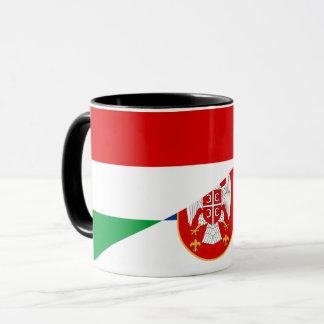 Taza símbolo del país de la bandera de Hungría Serbia
