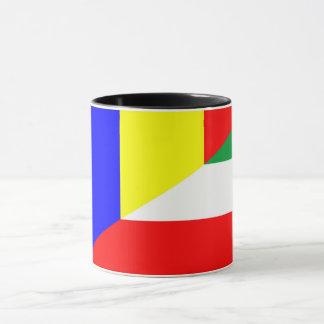 Taza símbolo del país de la bandera de Rumania Hungría