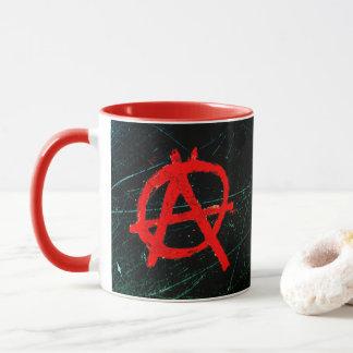 Taza Símbolo rojo sucio de la anarquía