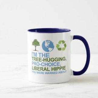 Taza Soy el árbol-abrazo, hippie proabortista, liberal