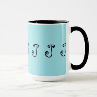 "Taza Taza, café, té, turquesa, negro, ""J inicial """