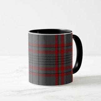 Taza Tela escocesa de tartán grande negra roja gris de
