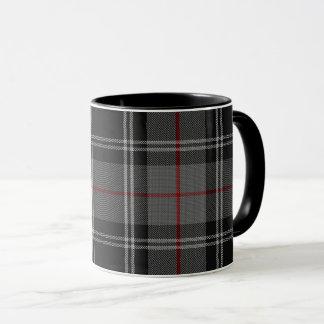 Taza Tela escocesa de tartán roja negra del blanco gris
