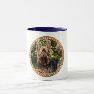 Taza Terrier marrón y negro de Yorkshire adorable