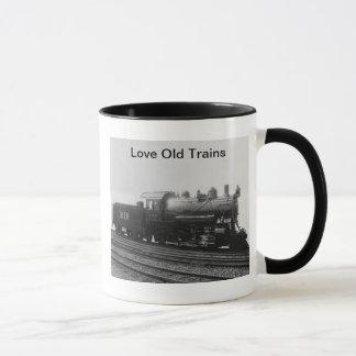 Taza Tren viejo del motor de vapor del vintage de los