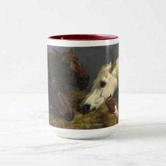 Taza Tres caballos que comen por los arenques de Juan