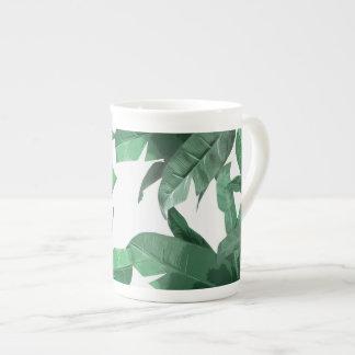 Taza tropical de la porcelana de hueso de la hoja