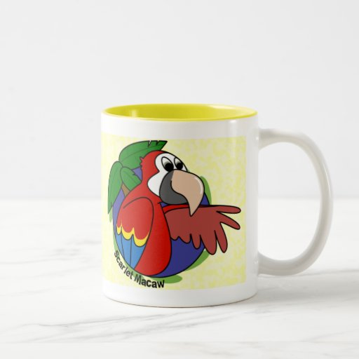 Taza tropical del Macaw del escarlata