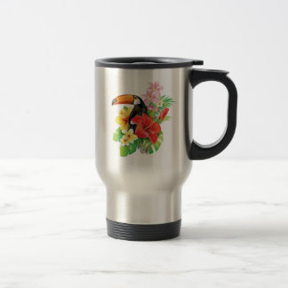 Taza tropical del viaje del collage de Toucan