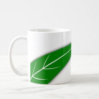 Taza verde de la obra clásica de la hoja