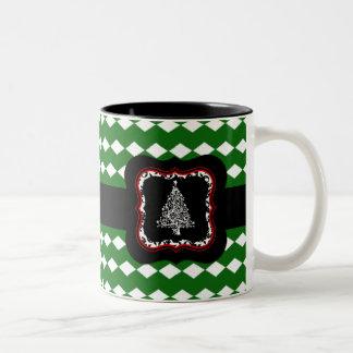Taza verde del modelo del árbol de navidad