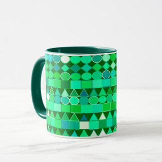 Taza Verde geométrico, esmeralda tribal moderno y