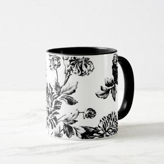 Taza Vintage blanco negro Toile floral botánico