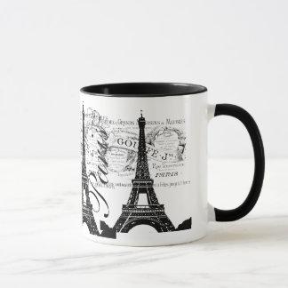 Taza Vintage París y etiqueta de la torre Eiffel