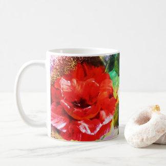 Taza viva del estampado de flores