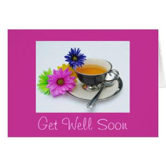 Taza y margaritas de té: ¡Consiga bien pronto! Tarjeta De Felicitación