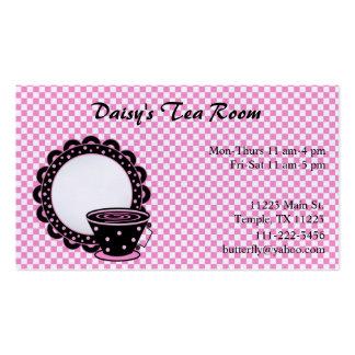 Taza y tarjeta de visita del té y del café del pla