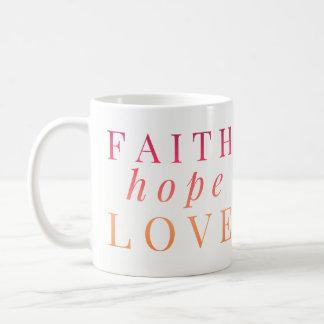 Tazas cristianas - amor de la esperanza de la fe -