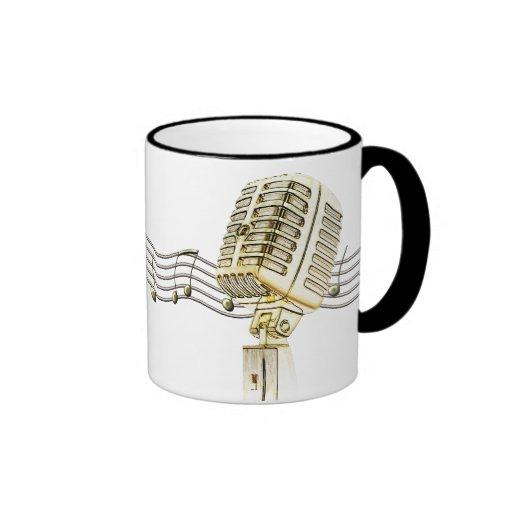 Tazas de café del diseño del micrófono del vintage