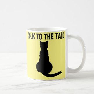 Tazas de café divertidas del CAT, CHARLA A LA COLA