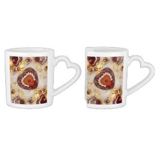Tazas de café en forma de corazón del arte del