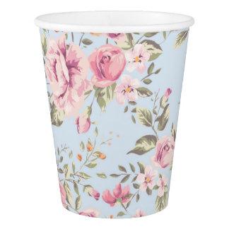 Tazas de papel florales rosadas y azules elegantes vaso de papel