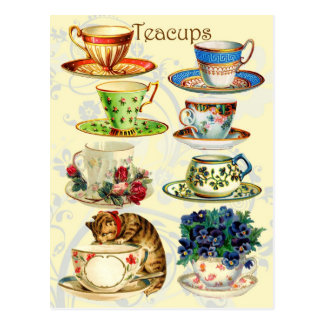 Tazas de té por tiempo del té postal