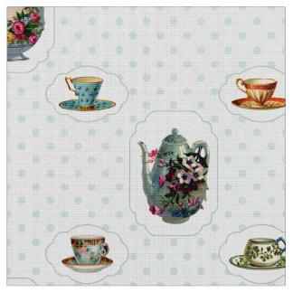 Tazas de té y lunares del vintage telas