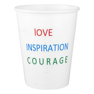 TAZAS DEL BLANCO DE LOVE-INSPIRATION-COURAGE VASO DE PAPEL