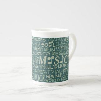 Tazas del collage de la palabra de los géneros de  taza de porcelana