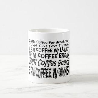 Tazas divertidas del regalo del café del horario