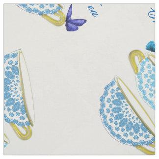 Tazas y mariposas azules y blancas de té de China Telas