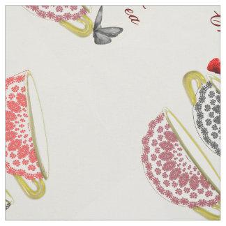 Tazas y mariposas blancos y negros rojas de té de telas