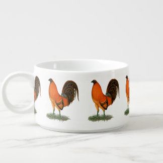 Tazón Gallo del rojo del jengibre del gallo de pelea