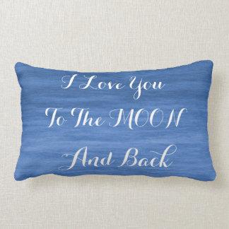 Te amo a la almohada del Lumbar de la luna y de la