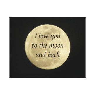 Te amo a la luna y a la lona de arte trasera