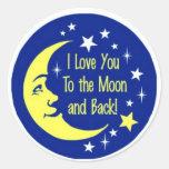 Te amo a la luna y a la parte posterior pegatinas