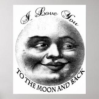 Te amo a la luna y a la parte posterior póster