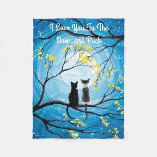 Te amo a la luna y al gato trasero manta polar