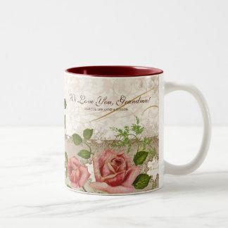 Te amo abuela, taza inglesa de los rosas del