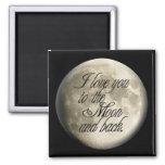 Te amo al lunar realista de la luna y de la parte  imán de nevera