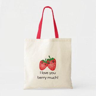 Te amo baya linda mucha fruta de la fresa de bolso de tela