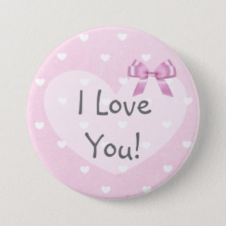 Te amo botón blanco del arco de los corazones