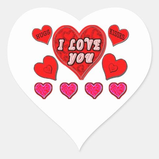 Te amo calcomanías de corazones