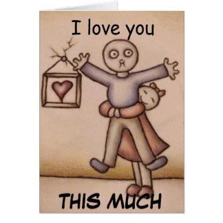 Te amo chica lindo que abraza el dibujo del tarjeta de felicitación