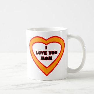 Te amo corazón anaranjado brillante de la MAMÁ el Taza Clásica