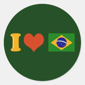 Te amo el Brasil Pegatina Redonda