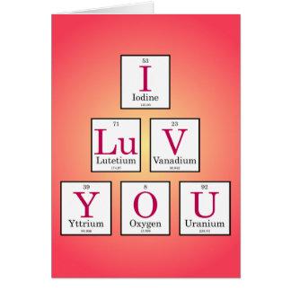 Te amo (elementos de tabla periódica) tarjeta de felicitación