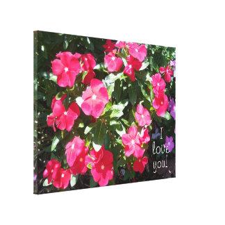 Te amo flores hermosas del bígaro rojo lienzo